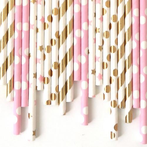 Pailles décoratives - rose - 24 pcs