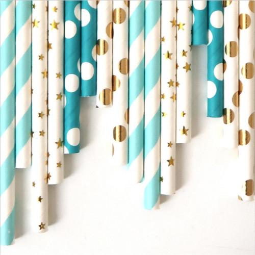 Pailles décoratives - bleu - 24 pcs