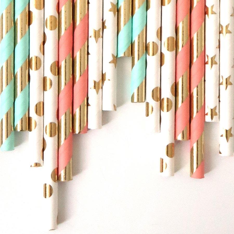 Pailles décoratives - pastel - 24 pcs
