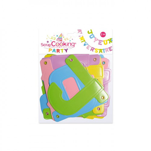 Guirlande en carton - Joyeux anniversaire - 2 m