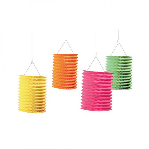 Lampions accordéon - Assortiment de couleur - 13 cm - 4 pcs