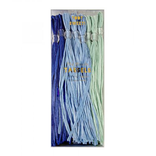 Pompons - Papier - Bleu - 12 pcs