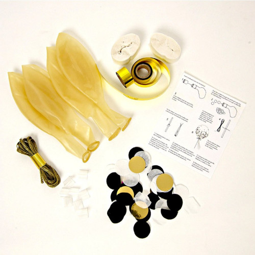 Kit ballons confettis - Noir et or - 8 pcs