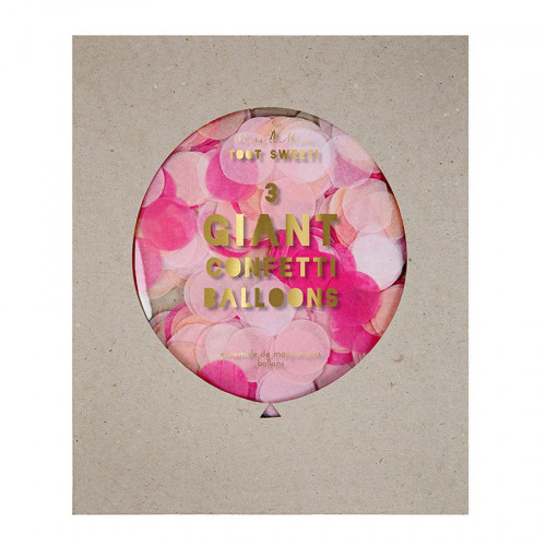 Kit ballon confettis - Géant - Rose - 3 pcs