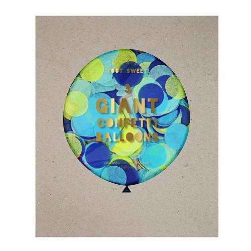 Kit ballon confettis - Géant - Bleu - 3 pcs