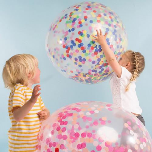Kit ballon confettis - Géant - Fluos - 3 pcs