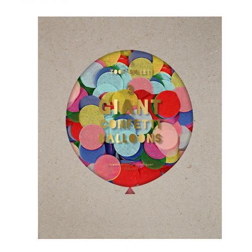 Kit ballon confettis - Géant - Pastels - 3 pcs