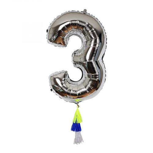 Ballon - Chiffre 3 et pompons