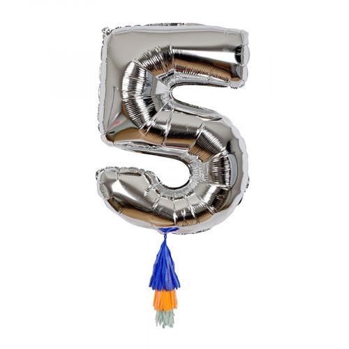 Ballon - Chiffre 5 et pompons