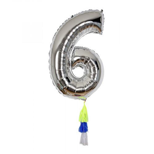 Ballon - Chiffre 6 et pompons