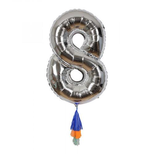 Ballon - Chiffre 8 et pompons
