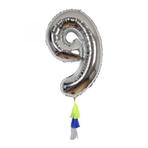 Ballon - Chiffre 9 et pompons