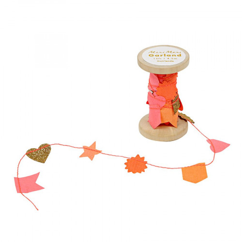 Guirlande - Bobine - Rose et orange - 4,5 m