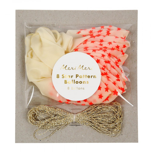 Ballons - Etoiles corail - 8 pcs