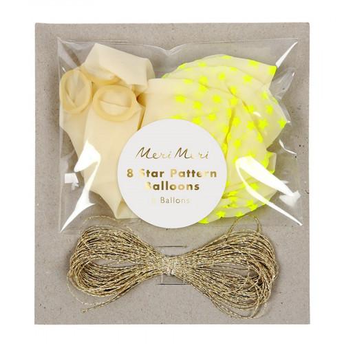 Ballons - Etoiles jaune fluo - 8 pcs