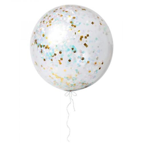 Kit Ballons géants confettis irisés