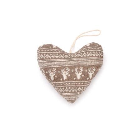 Cœur taupe et blanc motif renne - h. 13 cm