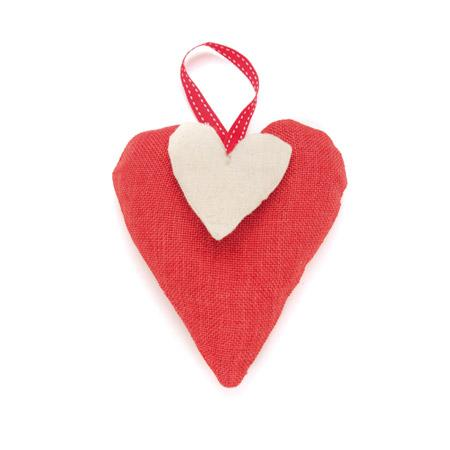 Double-cœur rouge et lin - h. 14,5 cm
