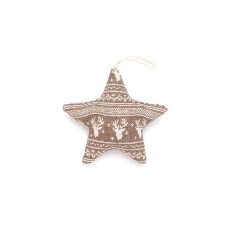 Etoile taupe et blanche motif renne - h. 12 cm