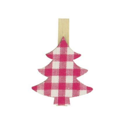 Bois - Lot de 6 pinces à linge textile - Sapin imprimé blanc et rose