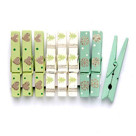 9 Pinces en bois - Vert / Turquoise / Beige #1 - h. 7,2 cm