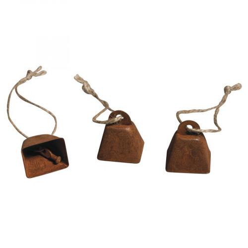 Cloches en métal à suspendre - 3 x 2,5 x 2 cm - 6 pces