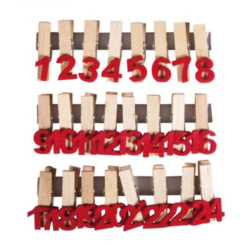 Pince à linge - Chiffres - 3,7 x 3,5 cm - 24 pcs