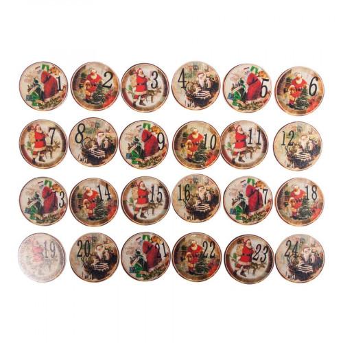 Chiffres en bois - Pinces à linge - Calendrier de l'avent - Ø 3 cm - 24 pcs