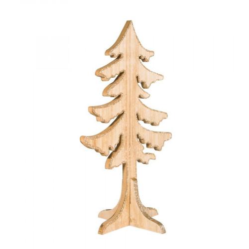 Sapin pailleté - Bois - 19,5 x 30 x 14,5 cm