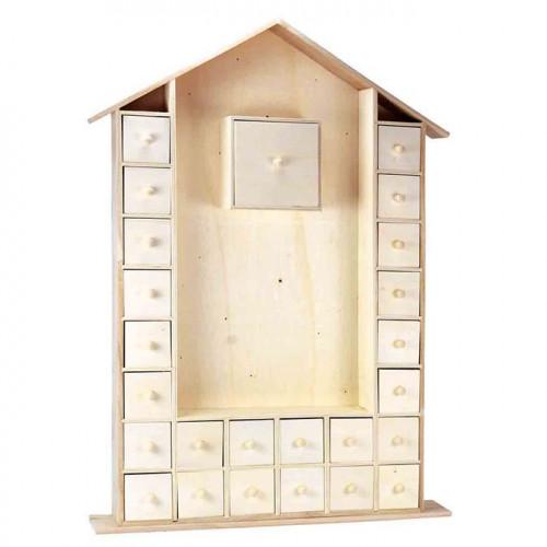 Calendrier de l'Avent Maison en bois - 47 x 66,5 x 6,5 cm
