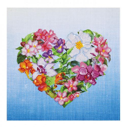 Kit tableau Strass Diamond Dotz Coeur fleuri