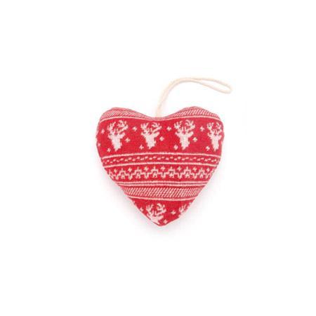 Coeur rouge et blanc motif renne - h. 10 cm