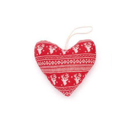 Coeur rouge et blanc motif renne - h. 13 cm