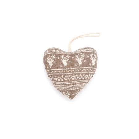Cœur taupe et blanc motif renne - h. 10 cm