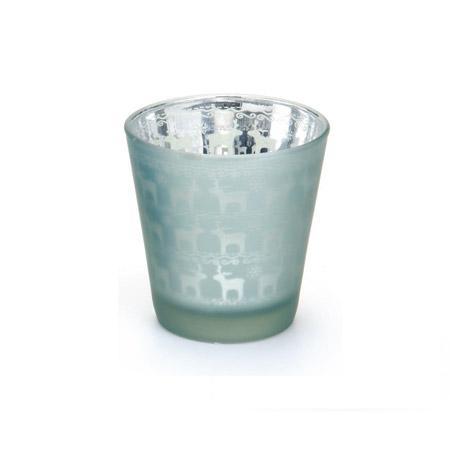 Photophore en verre motif rennes - Vert d'eau - h. 9,5 cm