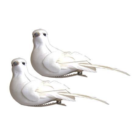 2 Colombes  blanches - 9,5 x 4 cm la pièce