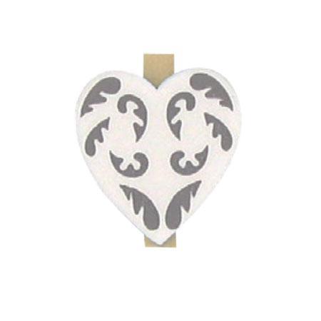 Pinces - Cœurs blancs x 6 pces - h. 5 cm