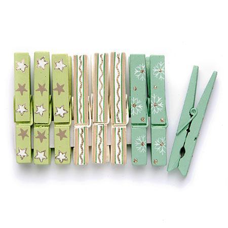 9 Pinces en bois - Vert / Turquoise / Beige #2 - h. 7,2 cm
