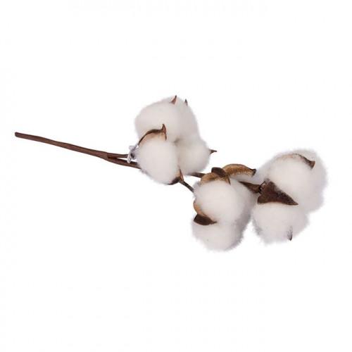 Branche avec fleurs en coton artificielle - 1 pcs