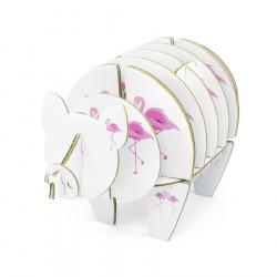 Cochon à monter en carton - Flamant rose - taille S