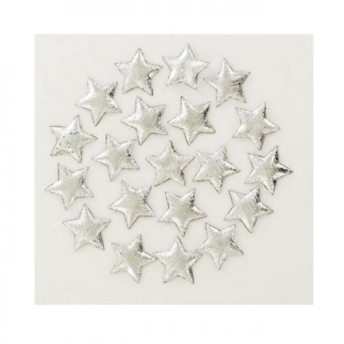 Etoiles textiles scintillantes - argent - 2 cm - 20 pces
