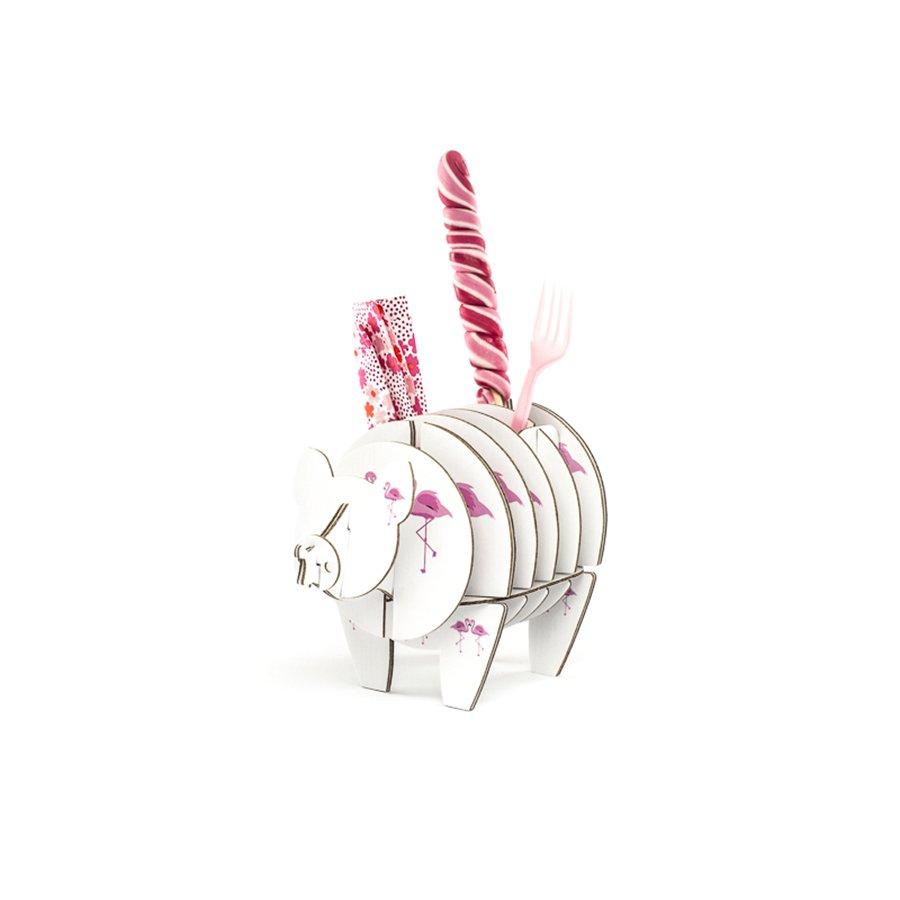 Cochon à monter en carton - Flamant rose - taille XS