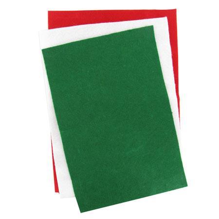 Assortiment 6 feuilles de feutrine - blanc, rouge, vert - 30 x 20 cm