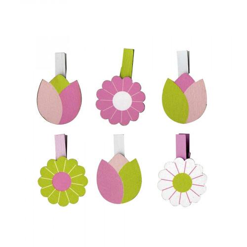 Pinces à linge en bois - Tulips - 6 pcs