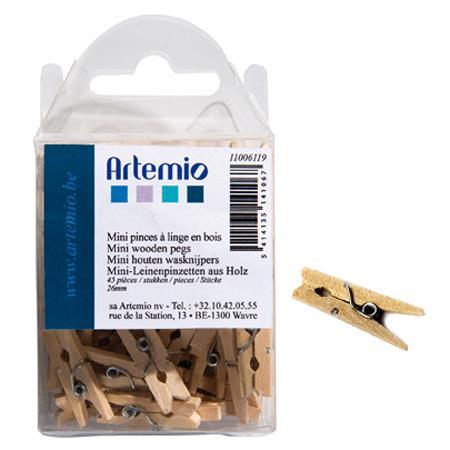 Pinces à linge en bois de 2,6 cm - 45 pcs