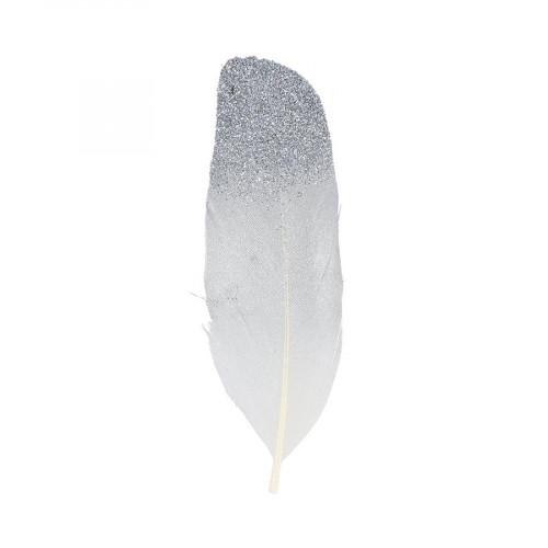 Plumes couleur argent - 3,5 x 11,5 cm - 6 pcs