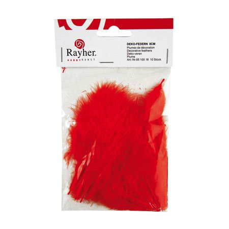 Plumes - Rouges - 8 cm - 10 pces