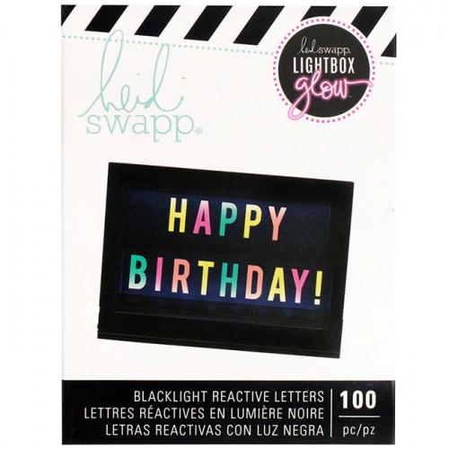 Lettres réactives à la lumière noire pour Lightbox Glow - multicolore - 100 pcs