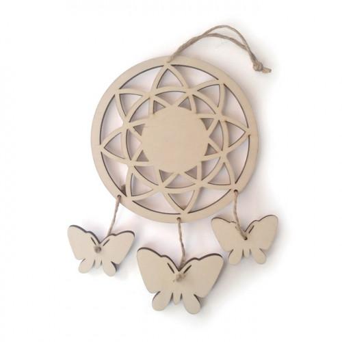 Attrape-rêve papillon en bois - 12.5x21.5x2 cm