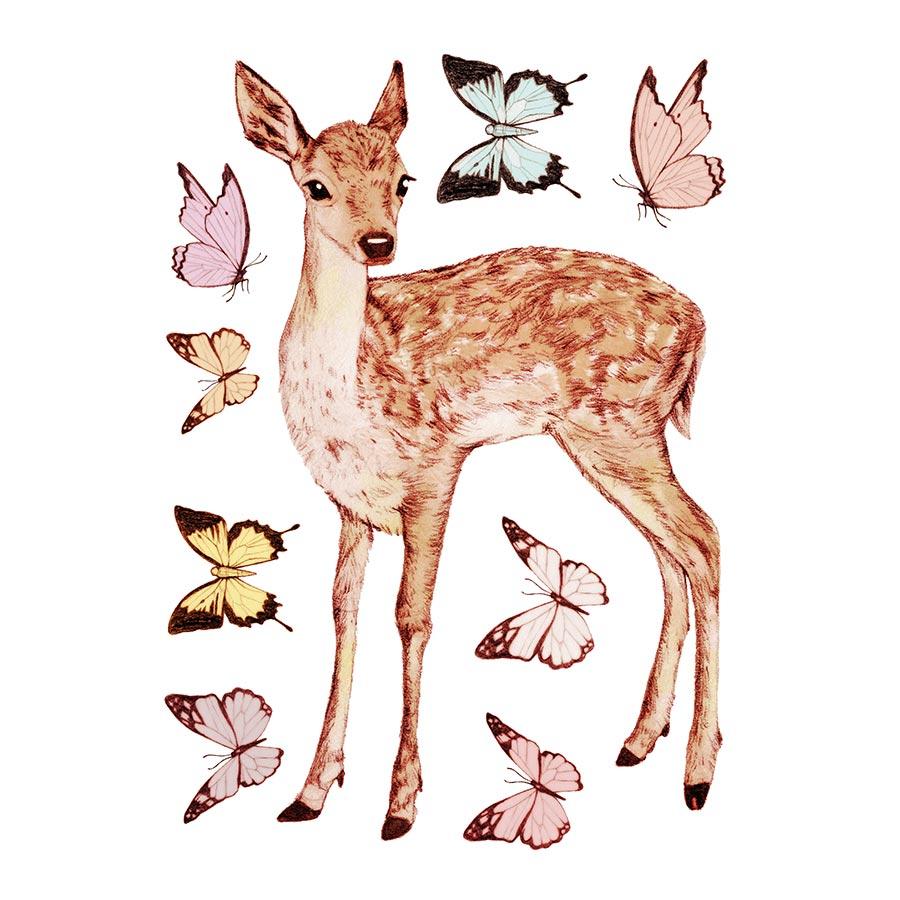 M.Design - Stickers muraux - Faon et renard - 2 planches - 23 x 35 cm